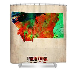 Montana Watercolor Map Shower Curtain by Naxart Studio