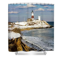 Montauk Lighthouse Winter Bluffs Shower Curtain