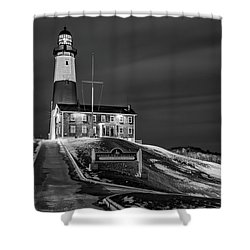 Shower Curtain featuring the photograph Montauk Point Lighthouse Bw by Susan Candelario