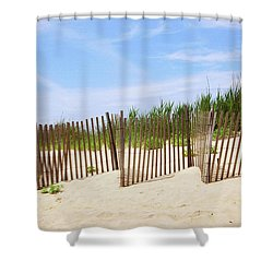 Shower Curtain featuring the photograph Montauk Sand Fence by Art Block Collections