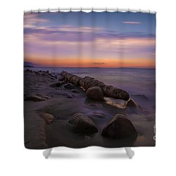Montauk Sunset Boulders Shower Curtain