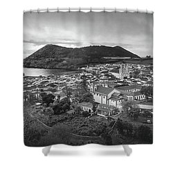 Shower Curtain featuring the photograph Monte Brasil And Angra Do Heroismo, Terceira Island, Azores by Kelly Hazel