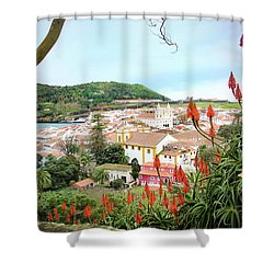 Shower Curtain featuring the photograph Monte Brasil And Angra Do Heroismo, Terceira by Kelly Hazel
