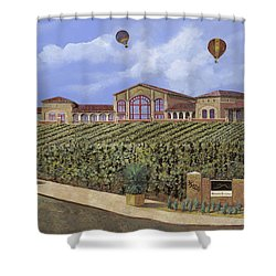 Monte De Oro And The Air Balloons Shower Curtain by Guido Borelli