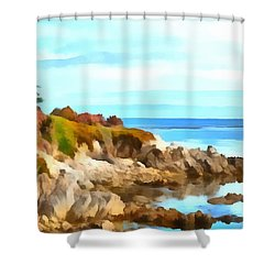 Shower Curtain featuring the photograph Monterey Coastline Watercolor by Floyd Snyder