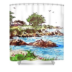 Shower Curtain featuring the painting Monterey Shore by Irina Sztukowski
