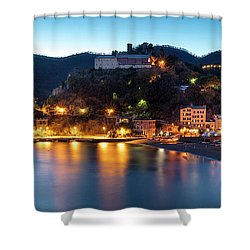 Shower Curtain featuring the photograph Monterosso Al Mare At Twilight by Brian Jannsen