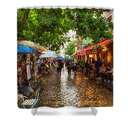 Montmartre Art Market, Paris Shower Curtain by Carl Amoth