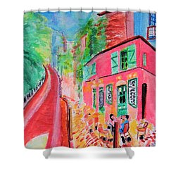 Montmartre Cafe In Paris Shower Curtain
