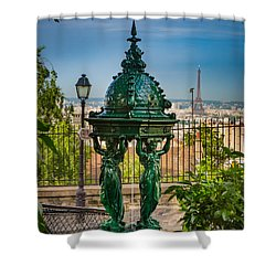 Montmartre Wallace Fountain Shower Curtain by Inge Johnsson