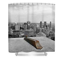 Montreal Cityscape Bw With Color Shower Curtain