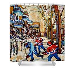 Montreal Hockey Game With 3 Boys Shower Curtain by Carole Spandau