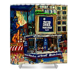 Montreal Jazz Festival Arcade Shower Curtain by Carole Spandau