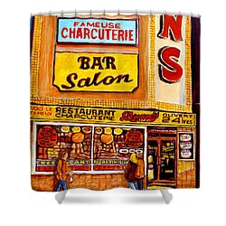 Montreal Landmarks And Legengs By Popular Cityscene Artist Carole Spandau With Over 500 Art Prints Shower Curtain by Carole Spandau