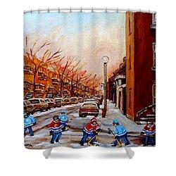 Montreal Street Hockey Game Shower Curtain by Carole Spandau