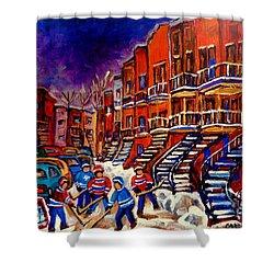 Montreal Street Scene Paintings Hockey On De Bullion Street   Shower Curtain by Carole Spandau