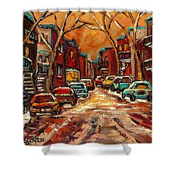 Montreal Streets In Winter Shower Curtain by Carole Spandau