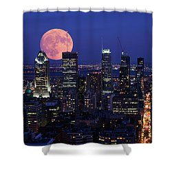Shower Curtain featuring the photograph Montreal Supermoon by Mircea Costina Photography