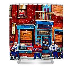 Montreal Wilensky Deli By Carole Spandau Montreal Streetscene And Hockey Artist Shower Curtain by Carole Spandau
