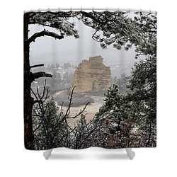 Monument Rock In The Snow Shower Curtain