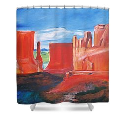 Shower Curtain featuring the painting Monument Valley  by Eric  Schiabor