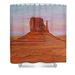 Shower Curtain featuring the painting Monument Valley by Jimmie Bartlett