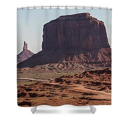 Monument Valley Man On Horse Sunrise  Shower Curtain