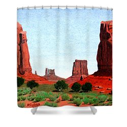 Monument Valley North Window Shower Curtain by Mike Robles