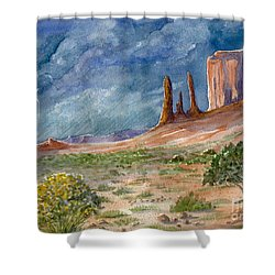 Monument Valley Raging Storm Shower Curtain by Marilyn Smith
