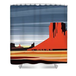 Monument Valley Sunset Digital Realism Shower Curtain