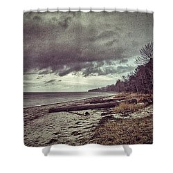 Moody Beach Shower Curtain