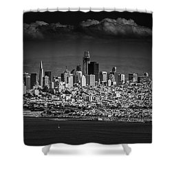 Moody Black And White Photo Of San Francisco California Shower Curtain by Steven Heap