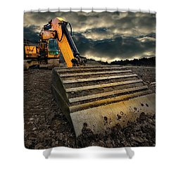 Moody Excavator Shower Curtain
