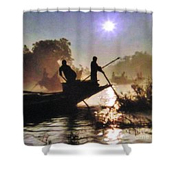 Moody River Silhouettes At Sunset Shower Curtain