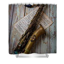 Moody Sax Shower Curtain