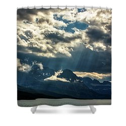 Moody Sunrays Over Glacier National Park Shower Curtain