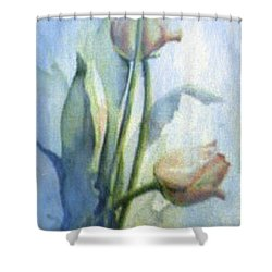 Shower Curtain featuring the painting Moody Tulips by Hanne Lore Koehler