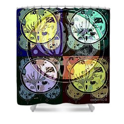 Shower Curtain featuring the mixed media Moon 2 by Ann Calvo