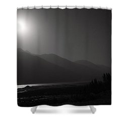 Moon Above Pyandzh Valley Shower Curtain by Konstantin Dikovsky