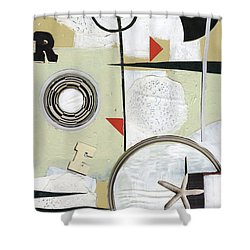 Moon And Stars In Space Shower Curtain by Michal Mitak Mahgerefteh