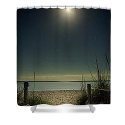 Moon And Stars Over Beach Shower Curtain