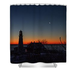 Moon And Venus - Headlight Sunrise Shower Curtain