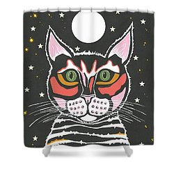 Moon Cat - Funny Animal Shower Curtain