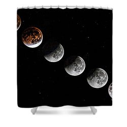 Moon Eclipse 2015 Shower Curtain by Shirley Mangini