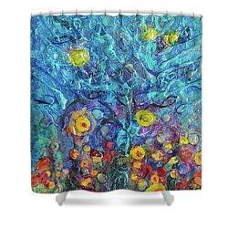 Moon Flowers Shower Curtain