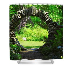 Moon Gate At Kinney Azalea Gardens Shower Curtain