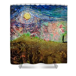 Shower Curtain featuring the painting Moon Gazing by Ron Richard Baviello