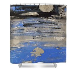 Moon In October Sky Shower Curtain by Mary Carol Williams