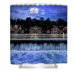 Shower Curtain featuring the photograph Moon Light - Boathouse Row Philadelphia by Bill Cannon
