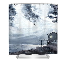 Shower Curtain featuring the painting Moon Light New by Anil Nene